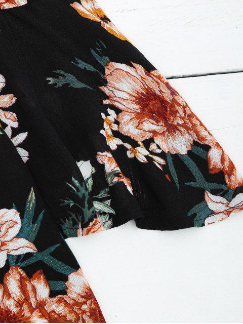 Flare Sleeve Choker Floral Romper - Noir L Mobile