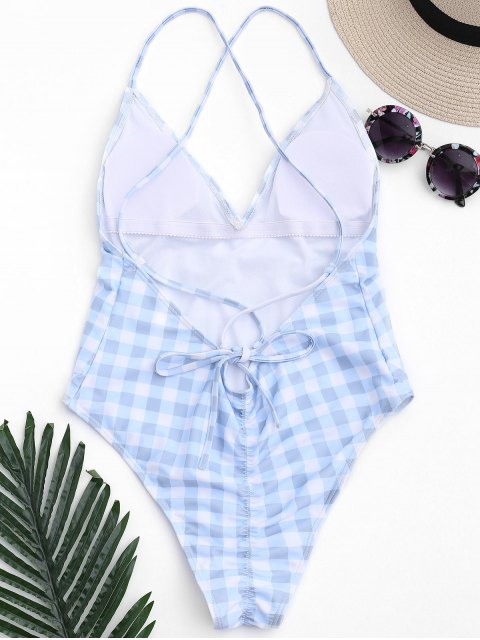 hot One Piece Checked High Cut Swimsuit - BLUE AND WHITE S Mobile