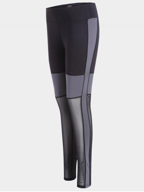 outfits Mesh Panel Workout Leggings - BLACK S Mobile