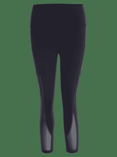 latest Mesh Panel Cropped Sports Leggings - BLACK L Mobile
