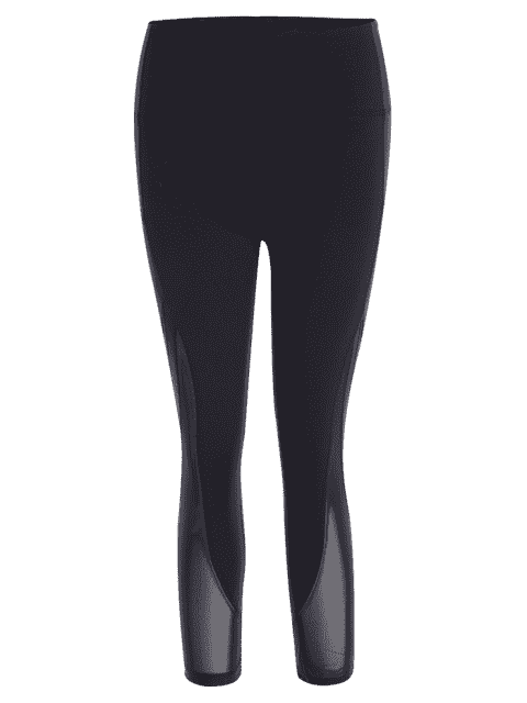 trendy Mesh Panel Cropped Sports Leggings - BLACK M Mobile