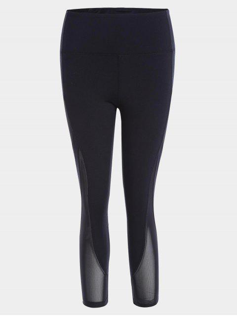 fashion Mesh Panel Cropped Sports Leggings - BLACK S Mobile