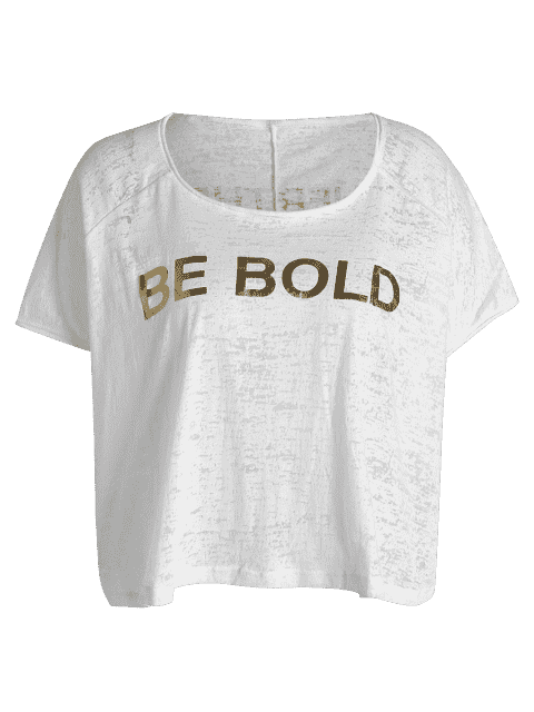 chic Be Bold Graphic Sports Top - WHITE ONE SIZE Mobile