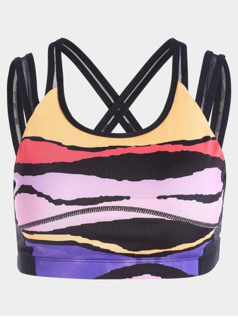 Soutien-gorge de sport en blocs de couleurs croisés - Multicolore S Mobile