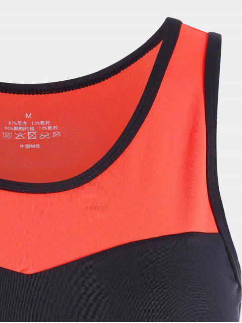 Color Block Racerback Soutien-gorge de sport - Orange L Mobile