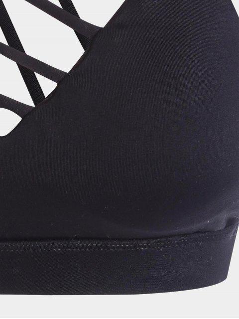 women Strappy Workout Bra - BLACK L Mobile