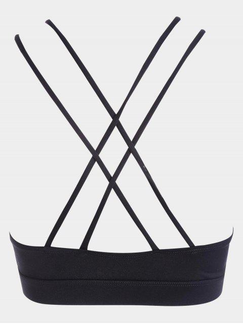 women's Strappy Workout Bra - BLACK M Mobile
