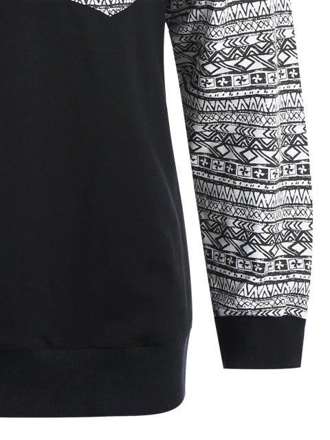 outfit Front Pocket Printed Sweatshirt - BLACK L Mobile