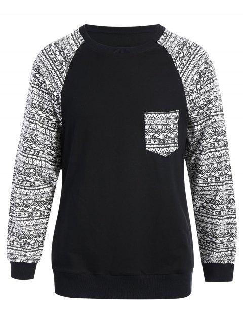 outfits Front Pocket Printed Sweatshirt - BLACK M Mobile