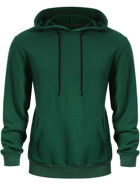 fashion Pullover Kangaroo Pocket Hoodie - GREEN 2XL Mobile