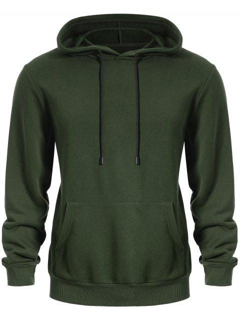 women Pullover Kangaroo Pocket Hoodie - ARMY GREEN L Mobile