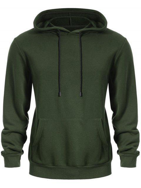 women Pullover Kangaroo Pocket Hoodie - ARMY GREEN L Mobile