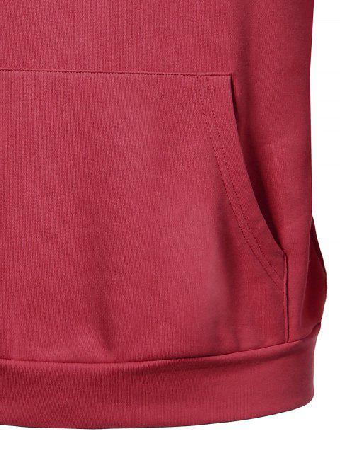 Pullover Kangaroo Pocket Hoodie - Pastèque Rouge 5XL Mobile