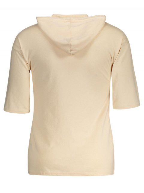 lady Drawstring Hooded T-shirt - KHAKI 2XL Mobile