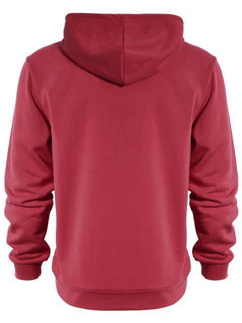 Pullover Kangaroo Pocket Hoodie - Pastèque Rouge 3XL Mobile