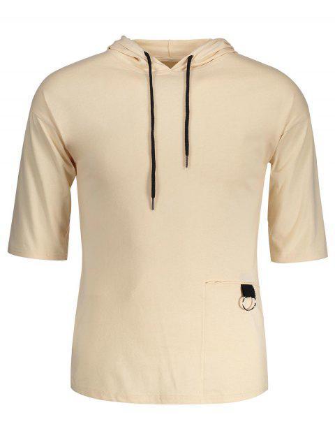 hot Drawstring Hooded T-shirt - KHAKI L Mobile