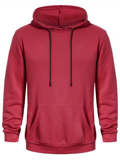shop Pullover Kangaroo Pocket Hoodie - WATERMELON RED L Mobile