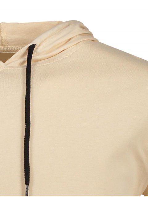 T-shirt à capuchon à corder - Kaki M Mobile