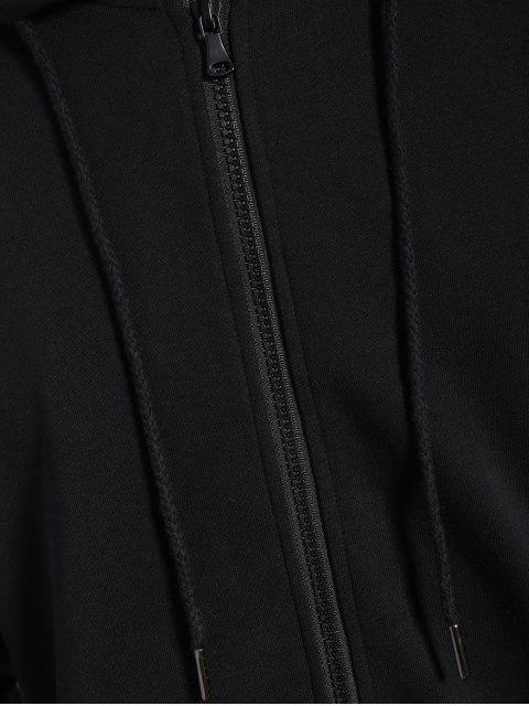 fashion Pockets Zip Up Hoodie - BLACK 4XL Mobile