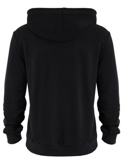 fancy Pockets Zip Up Hoodie - BLACK 3XL Mobile
