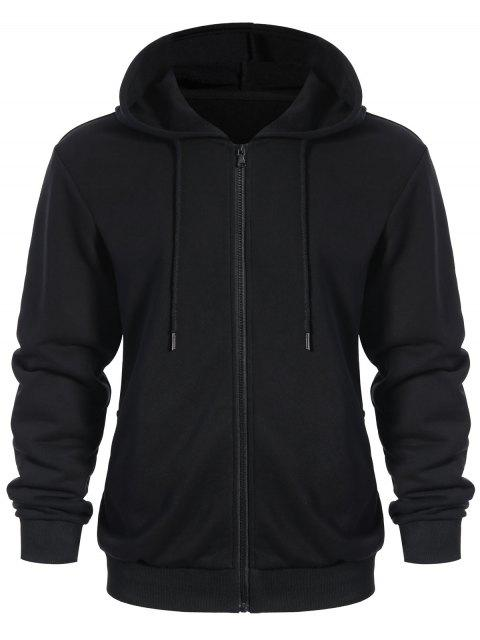 women's Pockets Zip Up Hoodie - BLACK L Mobile