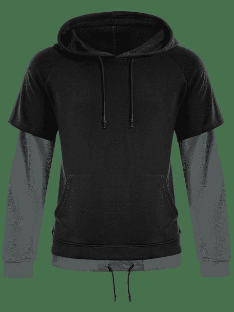 online Overlay Kangaroo Pockets Hoodie - BLACK 4XL Mobile