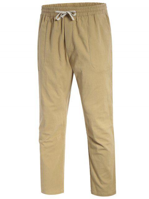 outfit Casual Pockets Drawstring Pants - LIGHT KHAKI 4XL Mobile