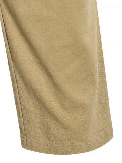 Casual Pockets Drawstring Pants - Kaki Clair 2XL Mobile