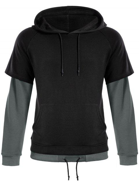 fashion Overlay Kangaroo Pockets Hoodie - BLACK L Mobile