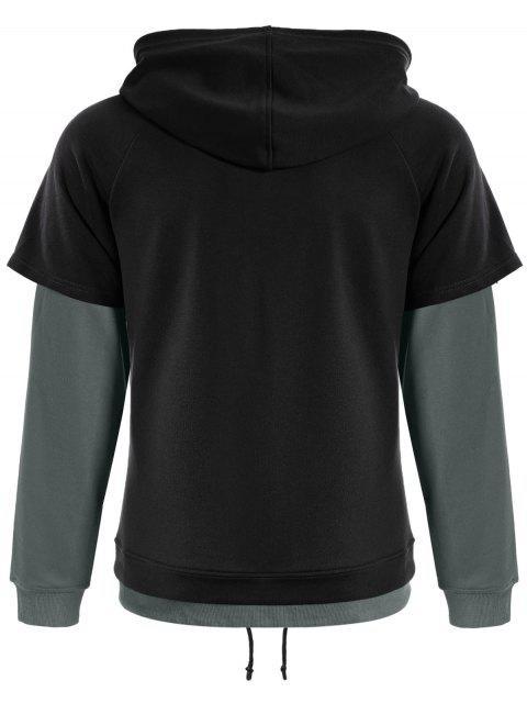fashion Overlay Kangaroo Pockets Hoodie - BLACK L Mobile