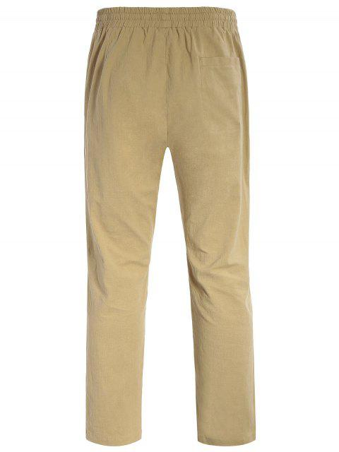 chic Casual Pockets Drawstring Pants - LIGHT KHAKI L Mobile