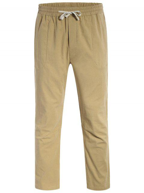 Casual Pockets Drawstring Pants - Kaki Clair L Mobile