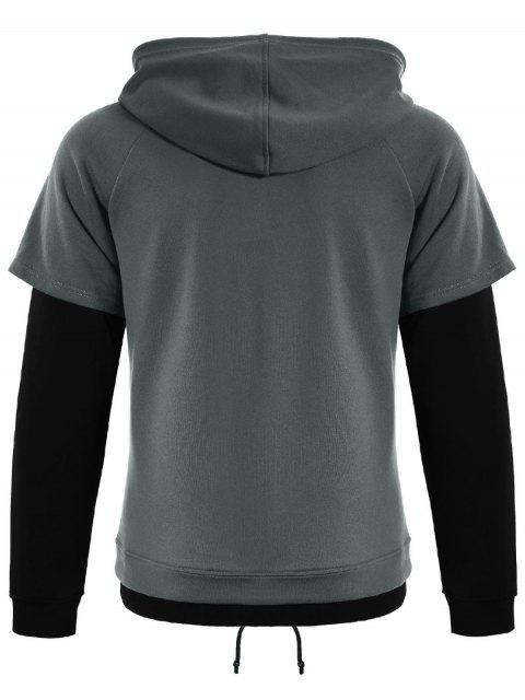 buy Overlay Kangaroo Pockets Hoodie - GRAY 3XL Mobile