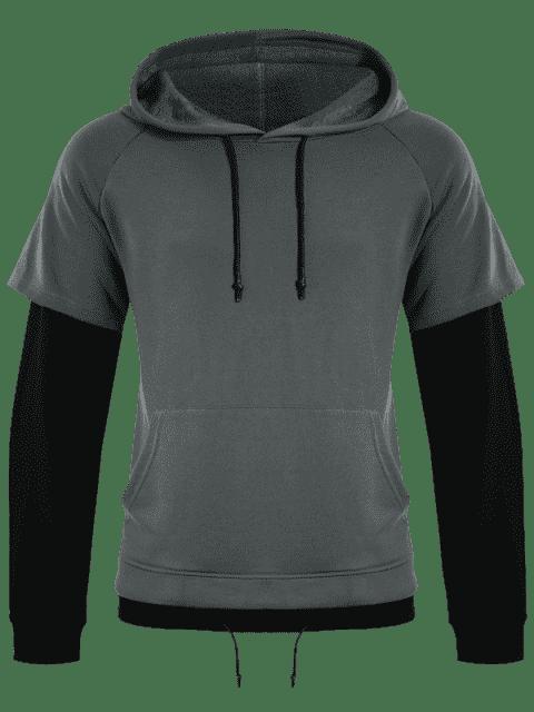 women Overlay Kangaroo Pockets Hoodie - GRAY 2XL Mobile
