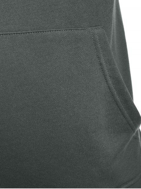 ladies Overlay Kangaroo Pockets Hoodie - GRAY XL Mobile