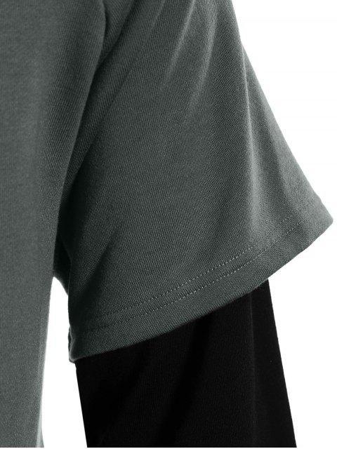 Overlay Kangaroo Pockets Hoodie - Gris L Mobile