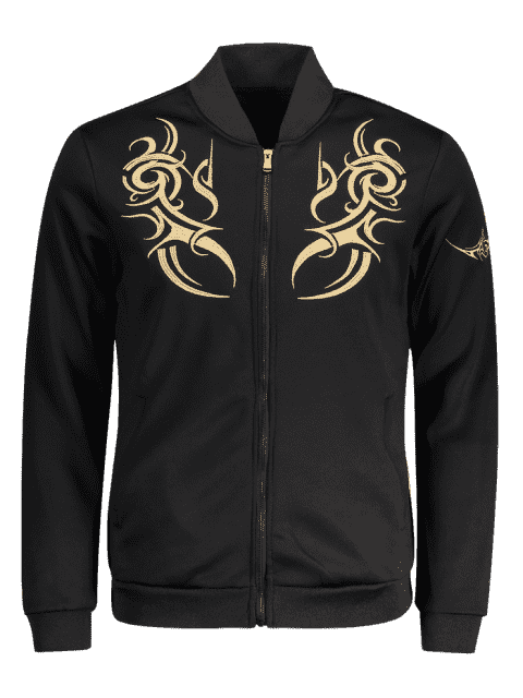 hot Zippered Embroidered Bomber Jacket - BLACK XL Mobile