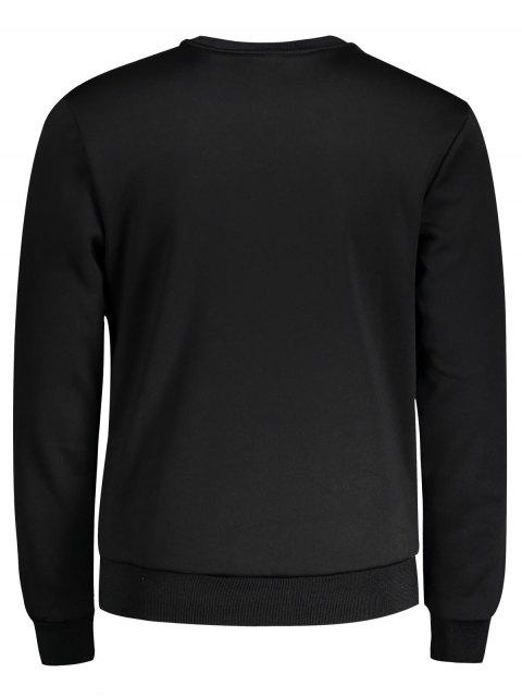 outfits Crew Neck Embroidered Sweatshirt - BLACK XL Mobile
