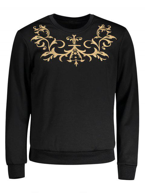 Sweat-shirt Ras du Cou à Broderie - Noir XL Mobile