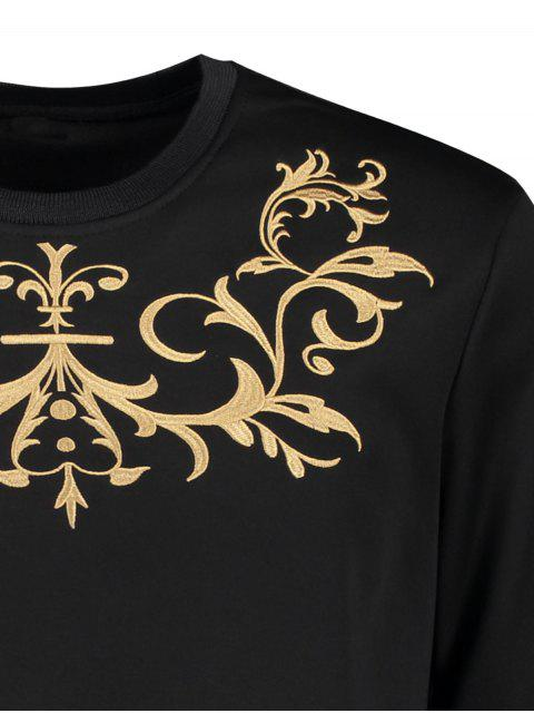 shop Crew Neck Embroidered Sweatshirt - BLACK L Mobile