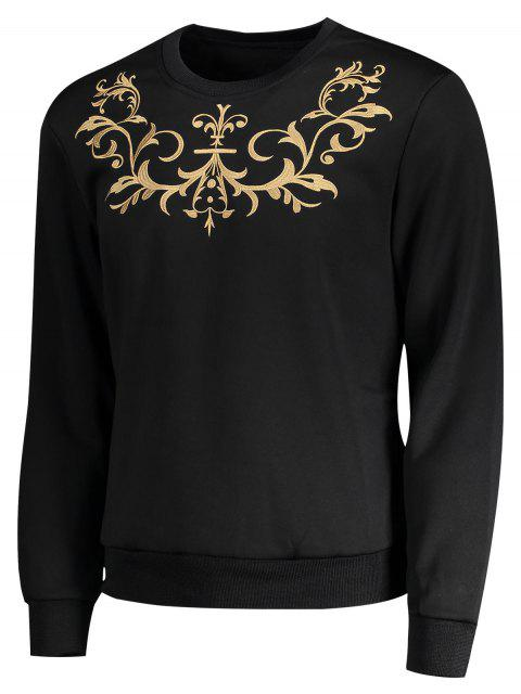 shops Crew Neck Embroidered Sweatshirt - BLACK M Mobile