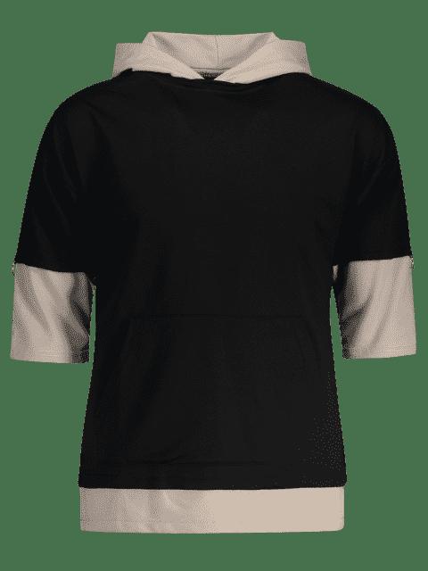 latest Two Tone Hoodie - BLACK 2XL Mobile