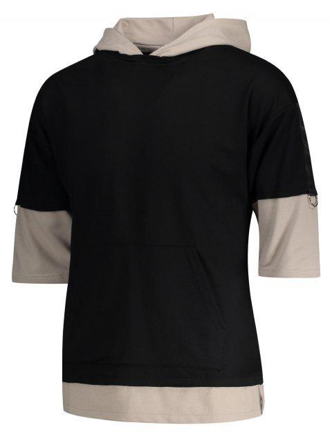 fashion Two Tone Hoodie - BLACK L Mobile