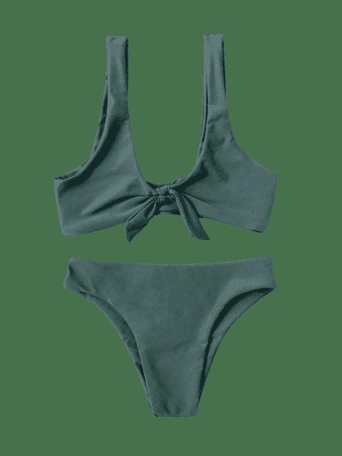 fancy Knotted Kids Bikini Set - BLACKISH GREEN 5T Mobile