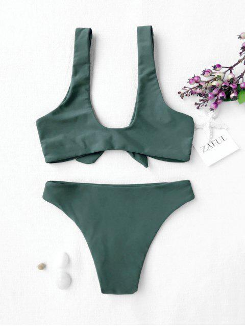 affordable Knotted Kids Bikini Set - BLACKISH GREEN 8T Mobile
