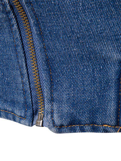 buy Stand Collar Zip Up Denim Jacket - BLUE M Mobile