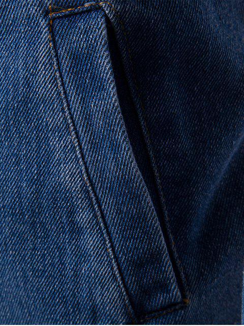 women Stand Collar Zip Up Denim Jacket - BLUE XL Mobile