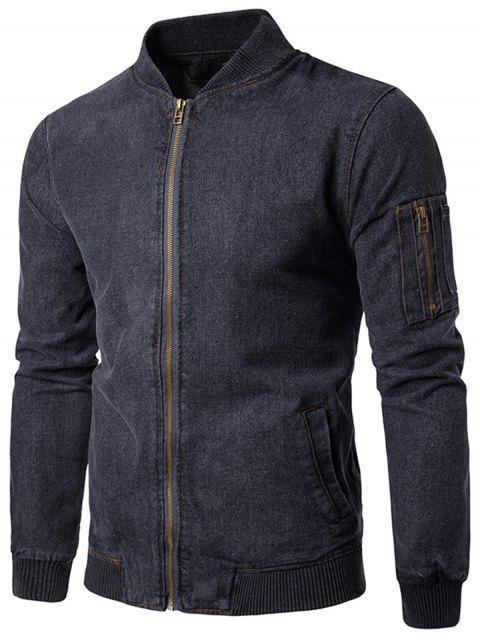 best Stand Collar Zip Up Denim Jacket - GRAY XL Mobile