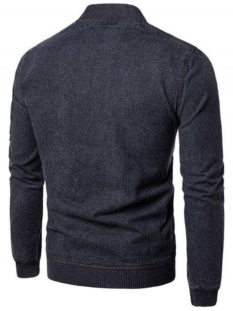 online Stand Collar Zip Up Denim Jacket - GRAY 2XL Mobile