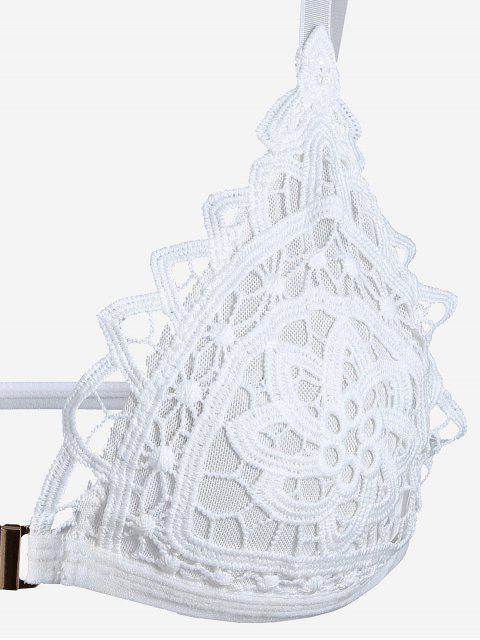 new Crochet Front Closure Mesh Bra - WHITE XL Mobile
